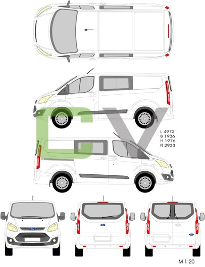 Ford Transit Custom (2012) (Kurz) (Teilverglast)