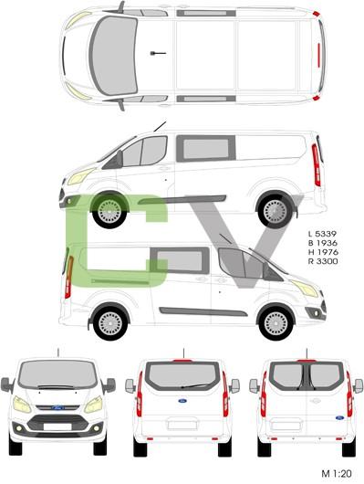 Ford Transit Custom (2012) (Lang) (Teilverglast)