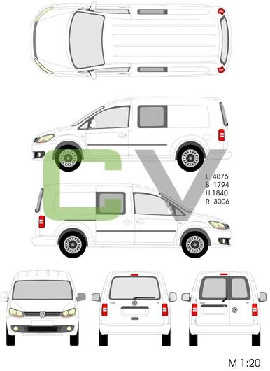 VW Caddy Maxi teilverglast (2013)