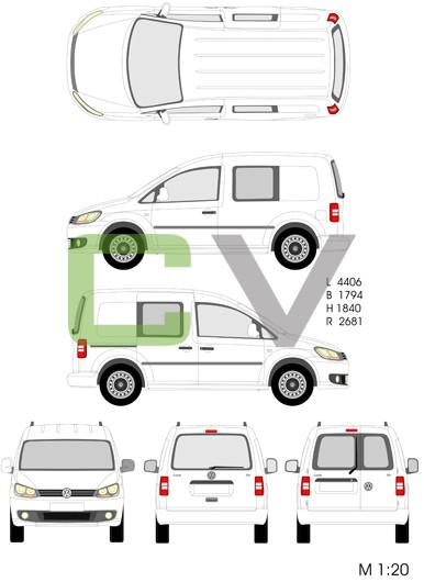 VW Caddy teilverglast (2013)
