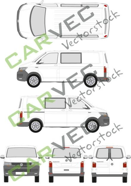 VW Transporter T6 L1H1 teilverglast (2015)