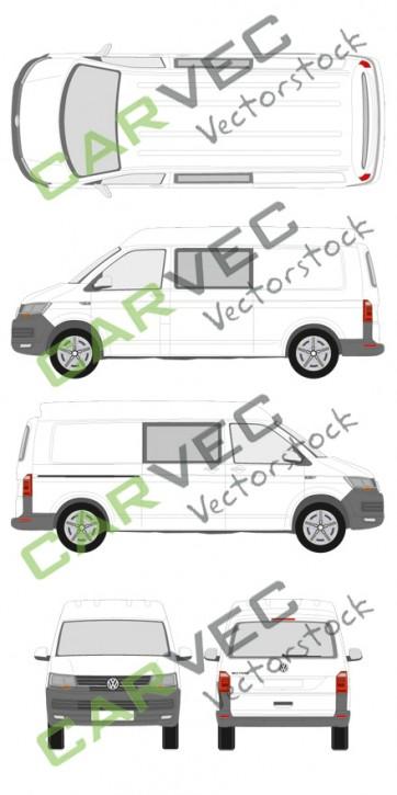 VW Transporter T6 L2H2 teilverglast (2015)