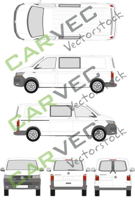 VW Transporter T6 L2H1 teilverglast (2015)